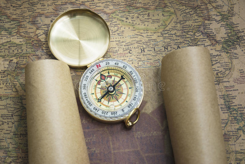 Kompas i Mapa fotografia stock