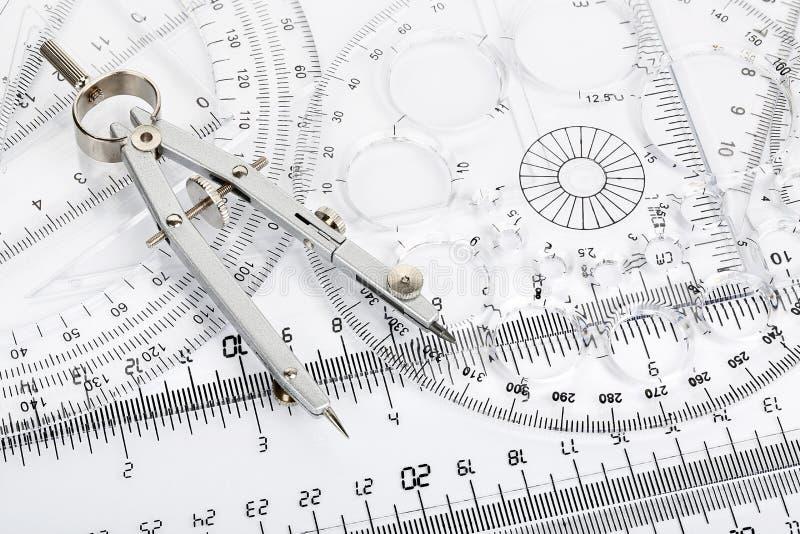 Kompas i władcy obrazy royalty free