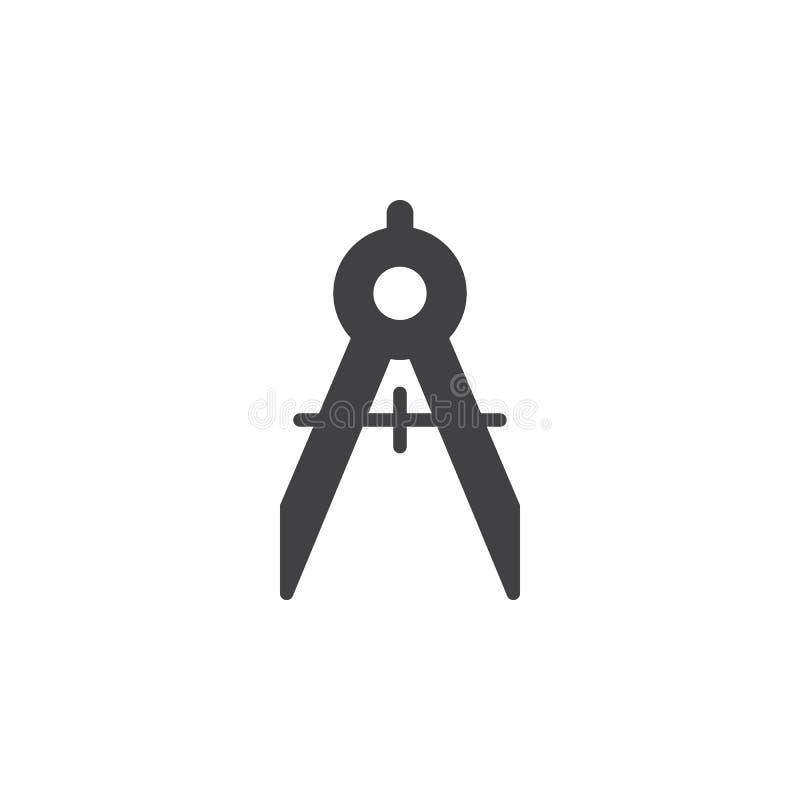 Kompas ikony wektor, wypełniający mieszkanie znak, stały piktogram odizolowywający na bielu ilustracja wektor