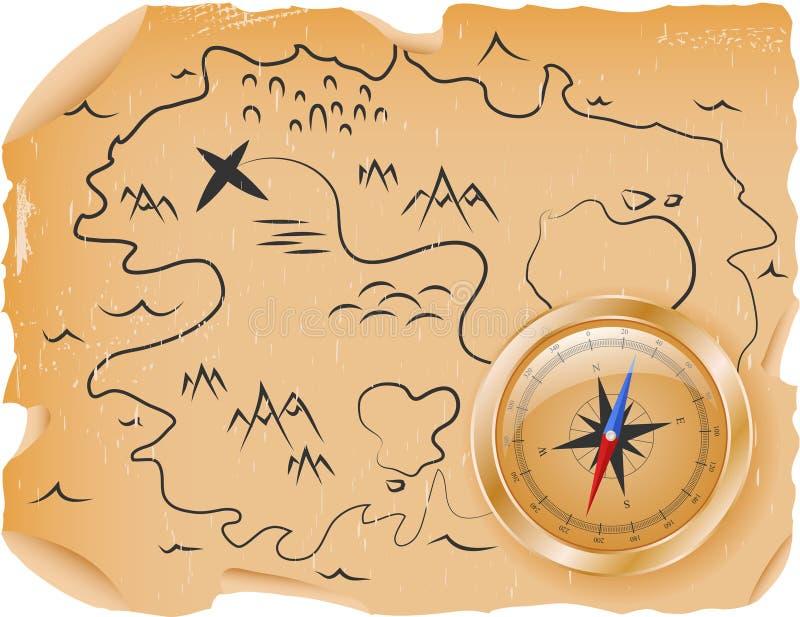 Kompas met een kaart stock illustratie