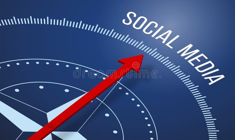 Kompas met een Sociaal Media pictogram stock illustratie