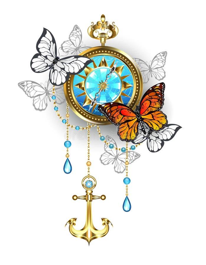 Kompas met vlinders Steampunk vector illustratie