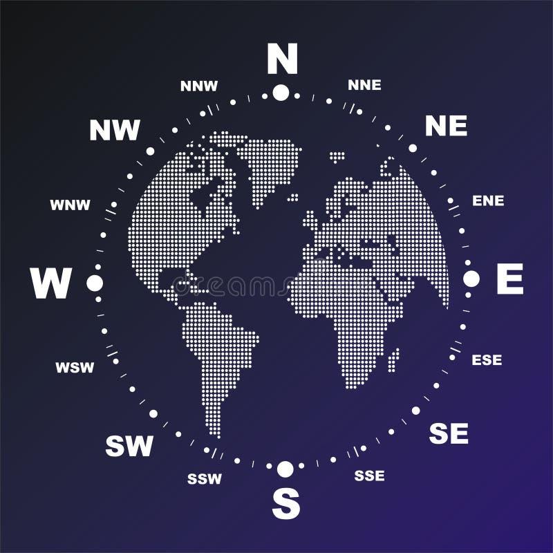 Kompas met wereldbol vector illustratie
