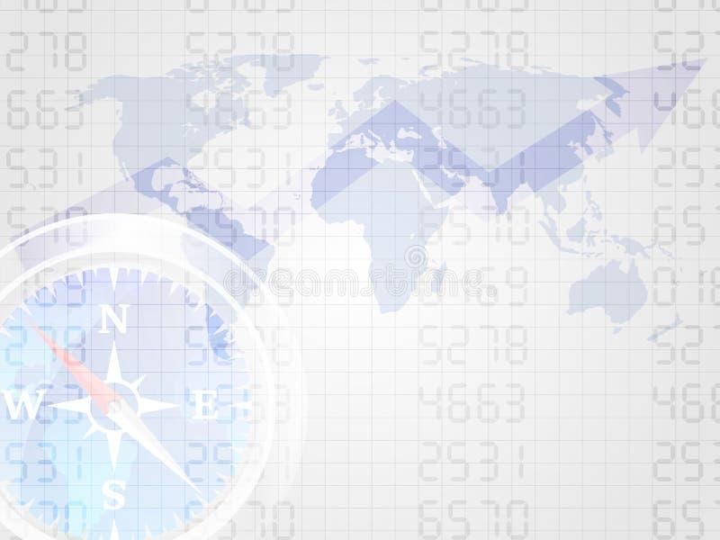 Kompas na numerowej i światowej mapie reprezentuje pojęcie inwestycja Trend rynek papierów wartościowych mapa pojęcia prowadzenia ilustracji