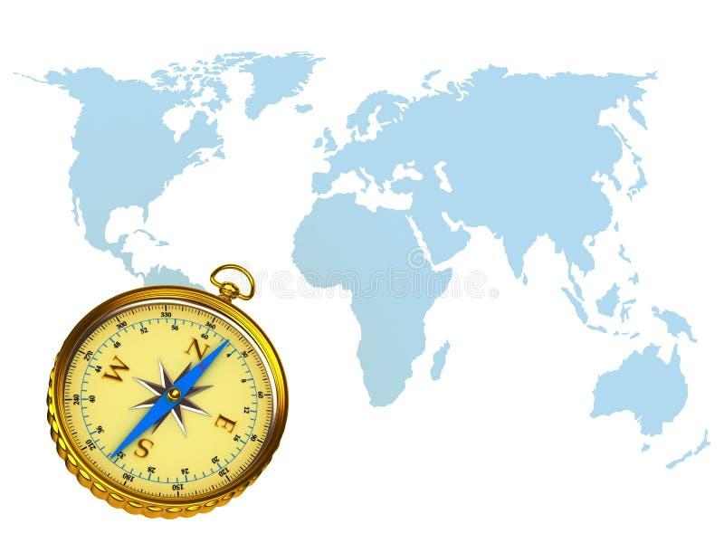 Kompas op achtergrond van de kaart stock illustratie