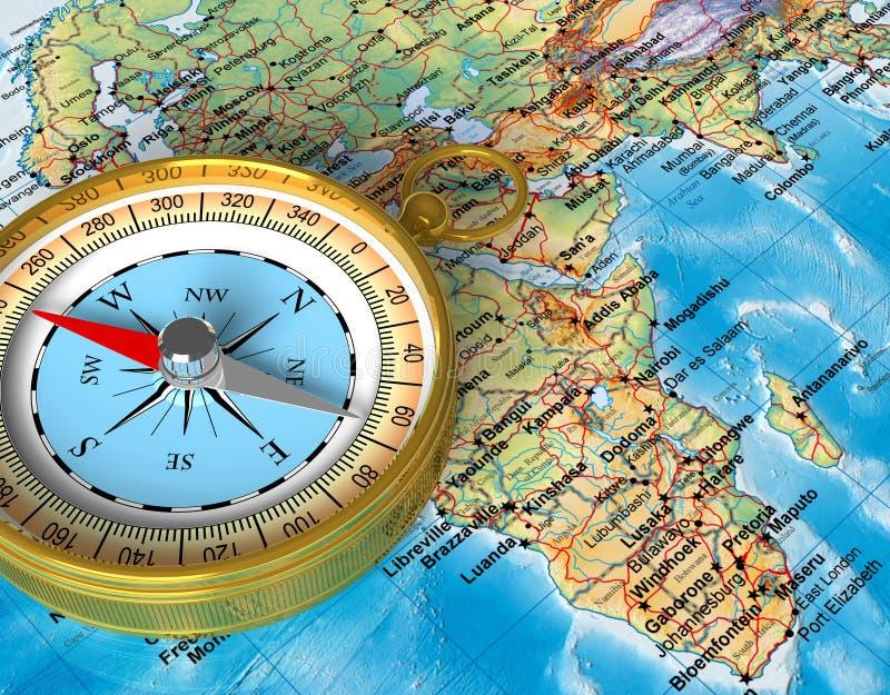 Kompas op de kaart royalty-vrije illustratie