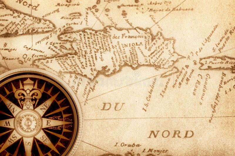 Kompas op oude kaart stock illustratie