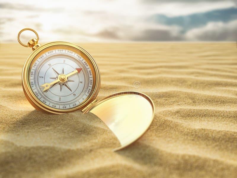 Kompas op overzees zand Van de reisbestemming en navigatie concept vector illustratie