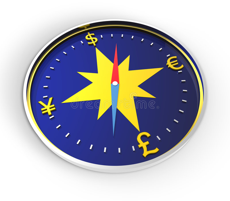kompas pieniądze ilustracji