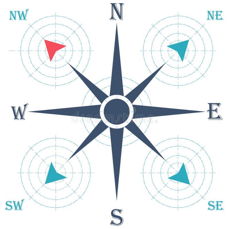 kompas różę wiatr również zwrócić corel ilustracji wektora geologiczny ilustracji