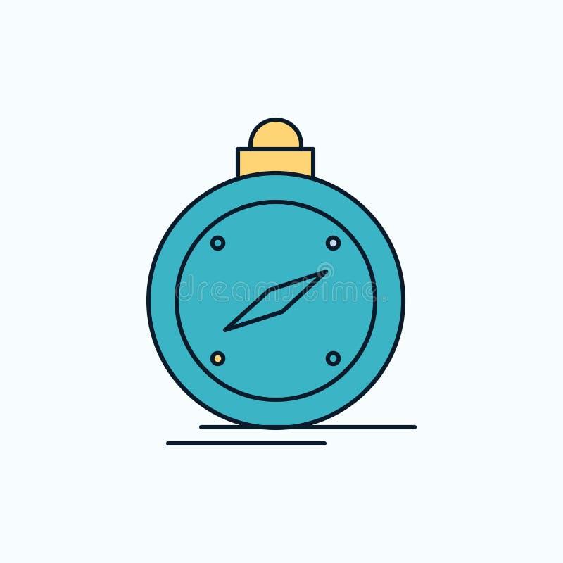 kompas, richting, navigatie, gps, plaats Vlak Pictogram groene en Gele teken en symbolen voor website en Mobiele appliation royalty-vrije illustratie