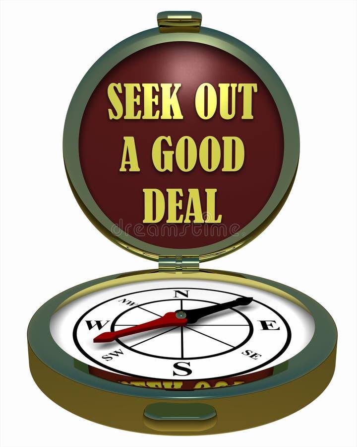 Kompas - Szuka Out Dobrą transakcję? ilustracji