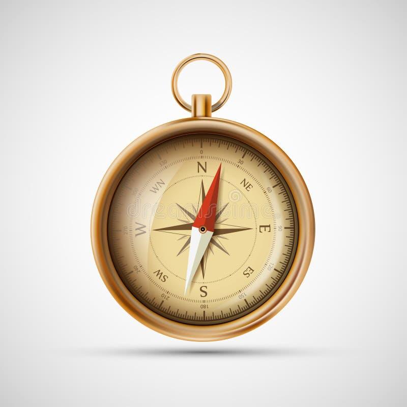 Kompas van het pictogram het oude metaal De illustratie van de voorraad vector illustratie