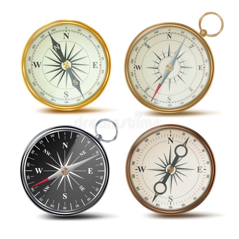 Kompas Vastgestelde Vector Verschillende Gekleurde Kompassen Navigatie Realistisch Objecten Teken Retro stijl De wind nam toe geï stock illustratie