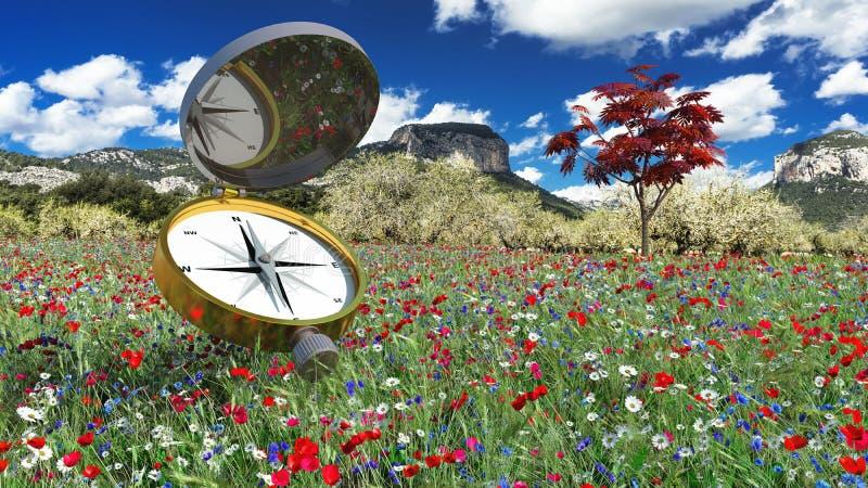 kompas wskazuje północ royalty ilustracja