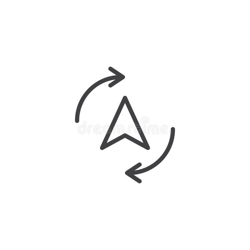 Kompascurseur met het cirkelen van pijlen rond lijnpictogram stock illustratie