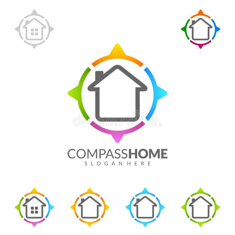 Kompashuis, Ontwerp van het Onroerende goederenhet vectorembleem met Uniek Huis vector illustratie