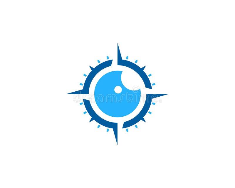 Kompassögonsymbol Logo Design Element royaltyfri illustrationer
