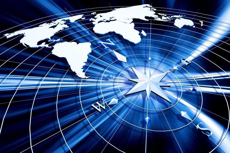 kompassöversiktsvärld vektor illustrationer