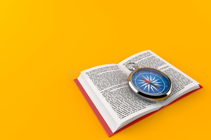 Kompass auf offenem Buch lizenzfreie abbildung