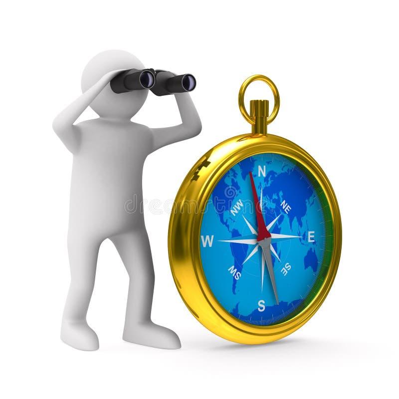 Kompass auf weißem Hintergrund lizenzfreie abbildung