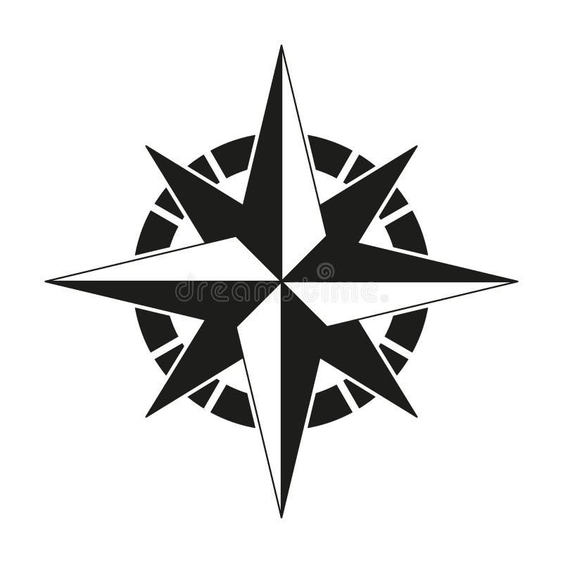 Kompass av den svarta symbolen stock illustrationer