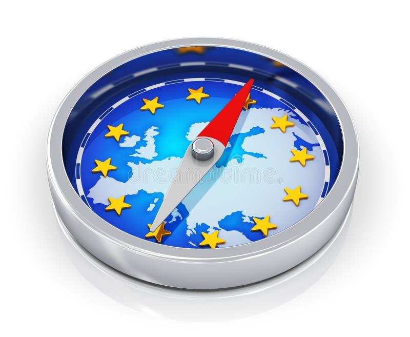 Kompass av Europa vektor illustrationer