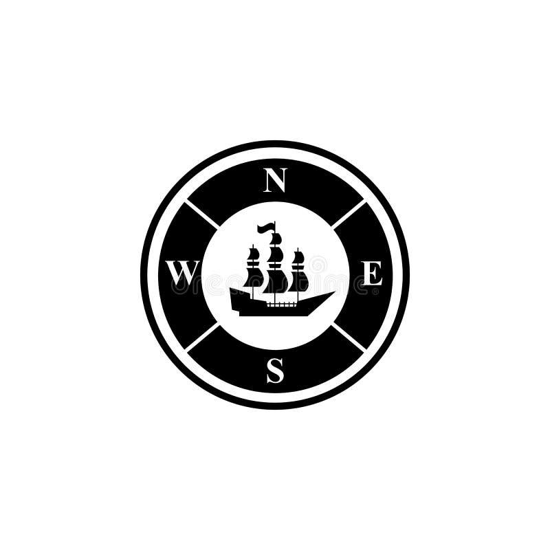 Kompass av svarta symboler skeppfören vektor illustrationer