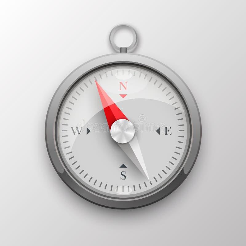 kompass 3D på vit bakgrund också vektor för coreldrawillustration royaltyfri illustrationer