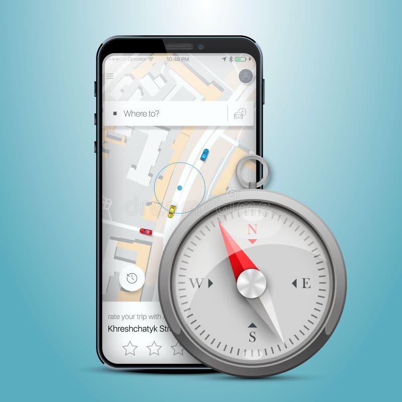 Kompass för översikt för telefongps-navigering stock illustrationer
