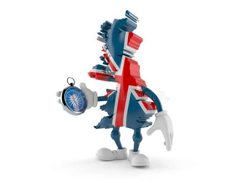 Kompass för UK-teckeninnehav royaltyfri illustrationer