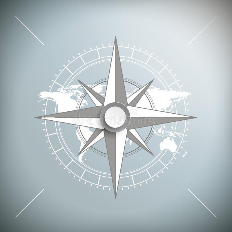 Kompass Gray Background vektor illustrationer