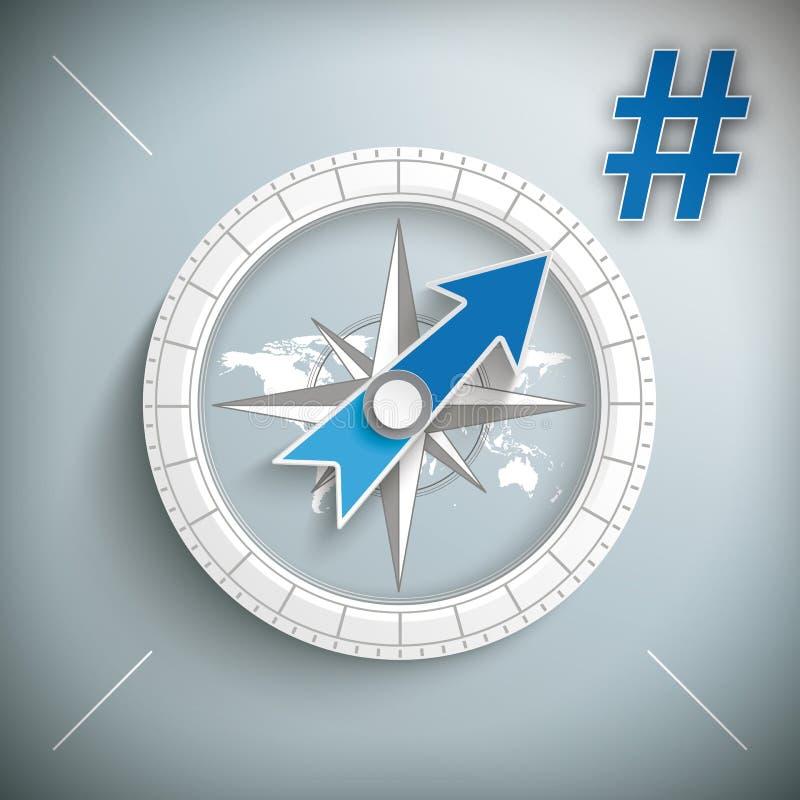 Kompass Hashtag royaltyfri illustrationer