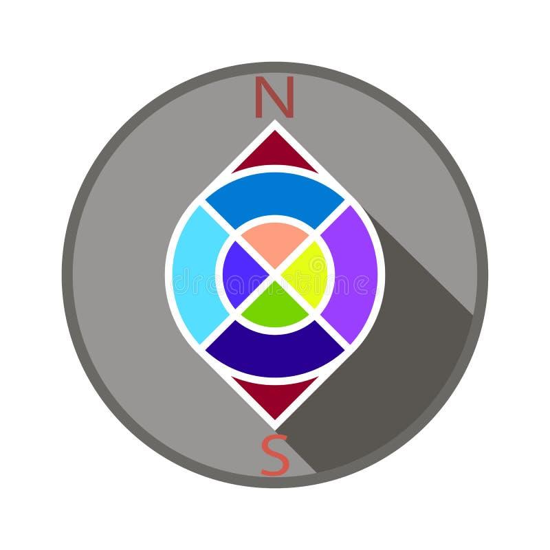Kompass i färg, i en grå cirkel royaltyfri illustrationer