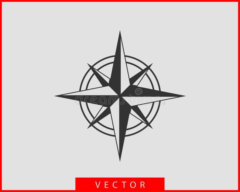 Kompass-Ikonen-Vektor Windrosesternnavigation lizenzfreie abbildung