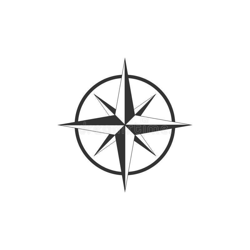 Kompass kompassros, navigeringsymbol Vektorillustration, l?genhetdesign stock illustrationer