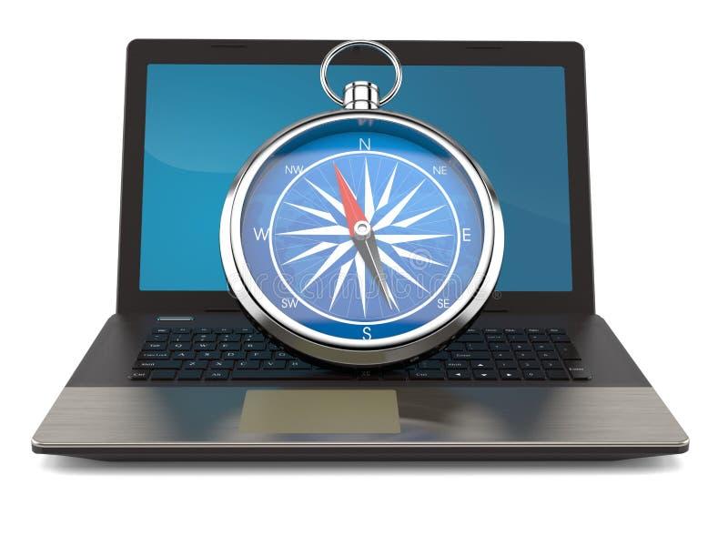 Kompass med bärbara datorn vektor illustrationer