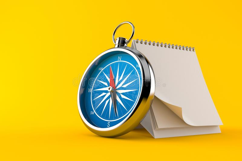 Kompass med den tomma kalendern vektor illustrationer