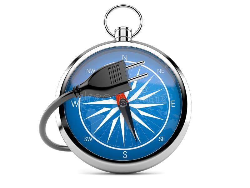 Kompass med elektrisk kabel royaltyfri illustrationer
