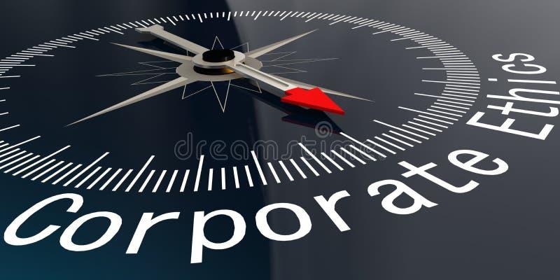 Kompass med företags etikord stock illustrationer