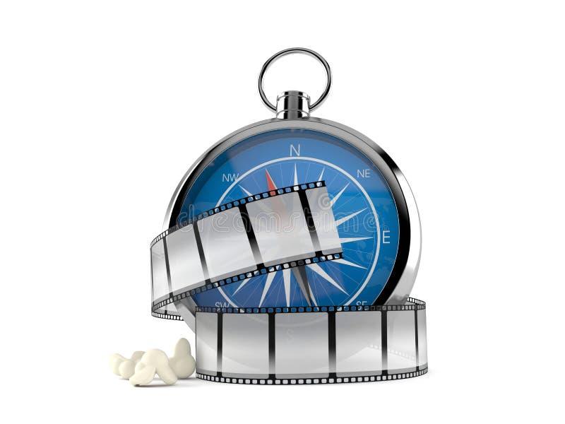Kompass med filmremsan vektor illustrationer