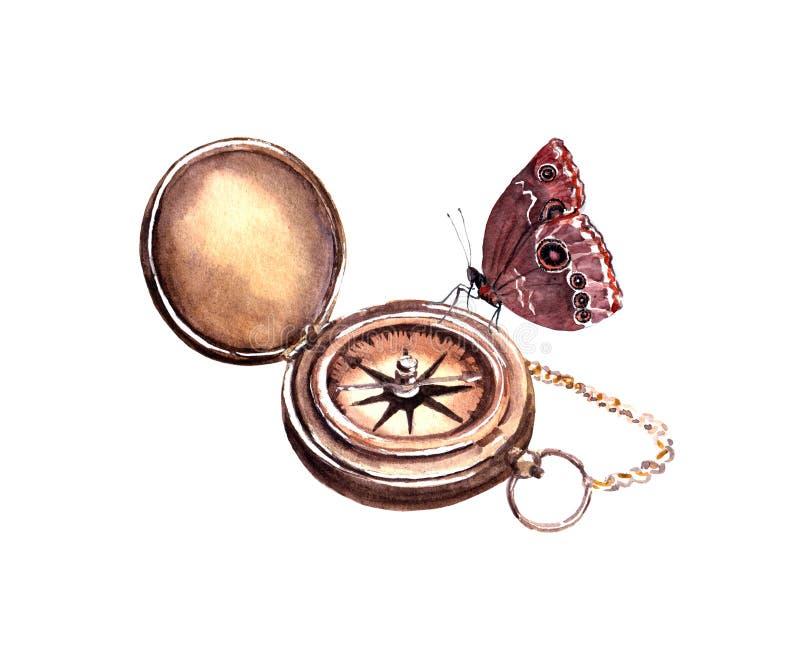 Kompass med fjärilen för dublin för bilstadsbegrepp litet lopp översikt vattenfärg stock illustrationer