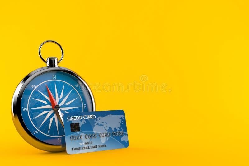 Kompass med kreditkorten royaltyfri illustrationer