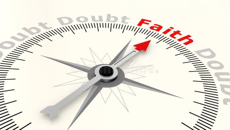 Kompass med pilen som pekar till ordtron vektor illustrationer