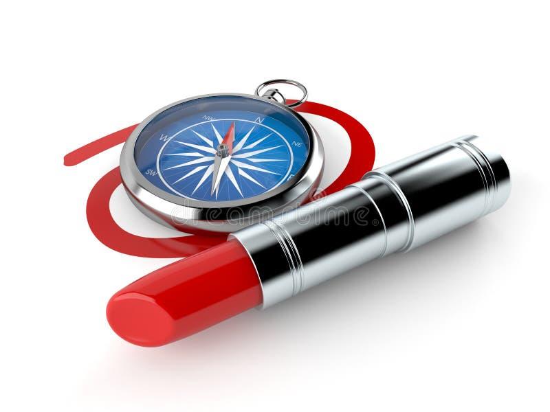 Kompass med röd läppstift royaltyfri illustrationer