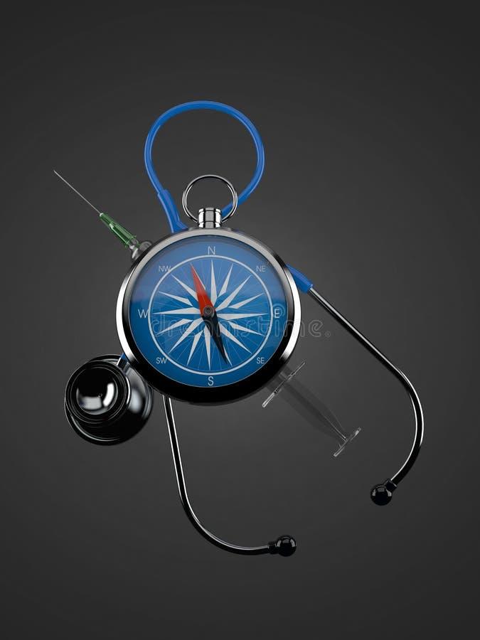Kompass med stetoskopet royaltyfri illustrationer