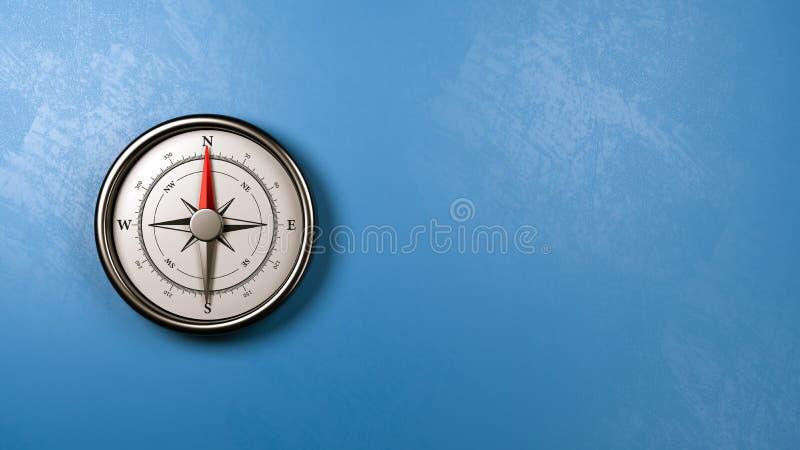 Kompass mot en vägg med Copyspace royaltyfri illustrationer