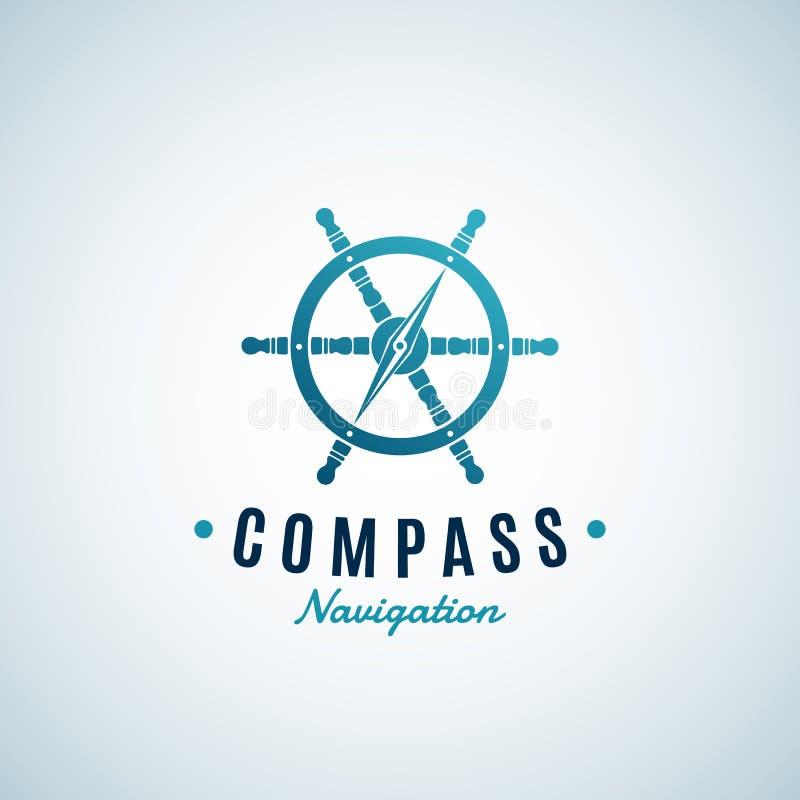 Kompass-Navigations-Zusammenfassungs-Vektor-Zeichen, Emblem oder Logo Template Pfeil integrierte in das Lenkrad-Symbol lizenzfreie abbildung