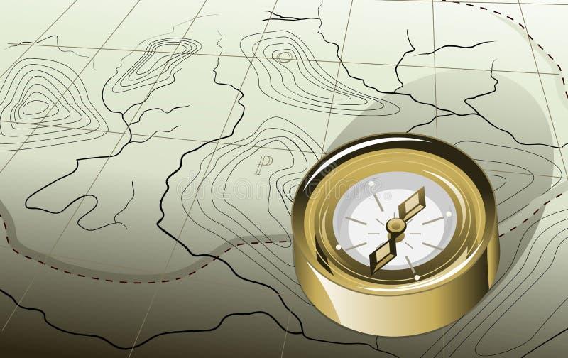 Kompass och översikt royaltyfri illustrationer