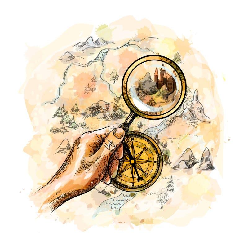 Kompass och förstoringsglas med skattöversikten stock illustrationer